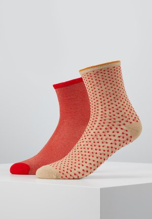 DINA SOLID DINA SMALL DOTS 2 PACK - Socks - red love