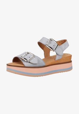 Sandalen met plateauzool - aquamarin / rose