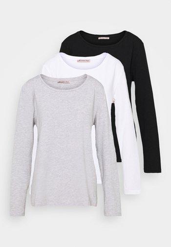3 PACK - Camiseta de manga larga - black/white/mottled light grey
