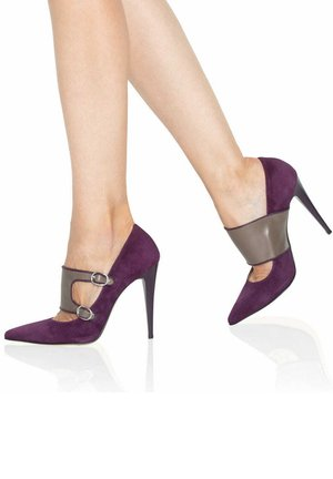 High Heel Pumps - violet/grey