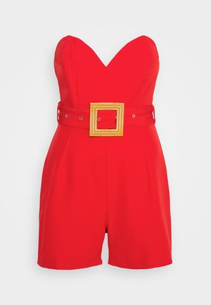 BANDEAU PLUNGE BELTED PLAYSUIT - Mono - red