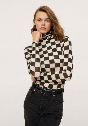 MIT ROLLKRAGEN - Long sleeved top - black/beige