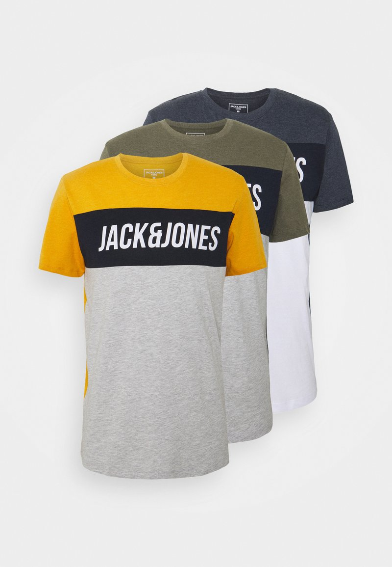 Jack & Jones - JCOTEMPTEE CREW NECK 3 PACK - T-shirt med print - navy blazer