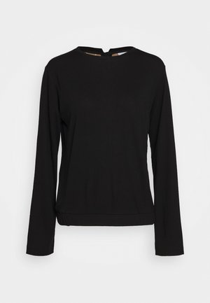 CREW NECK ZIPPER AND ASYMETRICAL HEMLINE - Long sleeved top - pure black