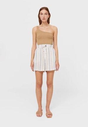 FLIESSENDE MIT ARTY-PRINT - Shorts - beige