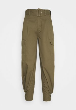 HIGH RISE BELTED PANT - Trousers - olive tree