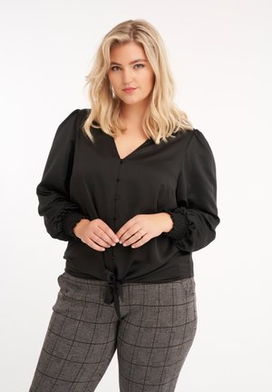 MET KNOOPDETAIL - Button-down blouse - black