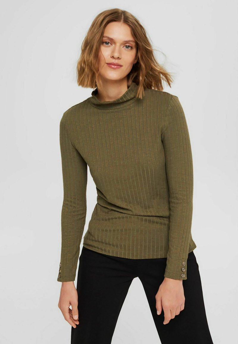 Esprit - HIGHNECK - Long sleeved top - dark khaki