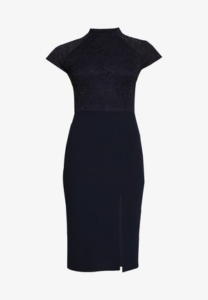 HIGH NECK MIDI DRESS - Etui-jurk - navy blue