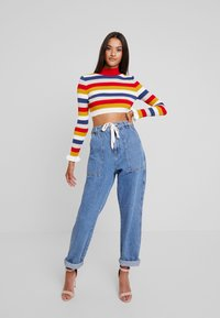 Missguided - STRIPED CROP JUMBER WITH FRILL CUFFS - Jumper - red - 1