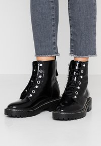 ONLY SHOES - ONLBOLD LACE UP BOOTIE - Lace-up ankle boots - black - 0