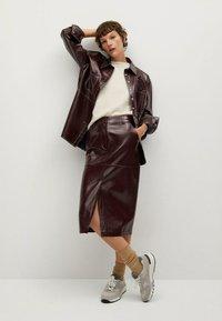 Mango - Leather skirt - donkerrood - 1