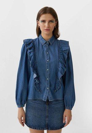 MIT VOLANTS - Button-down blouse - dark blue