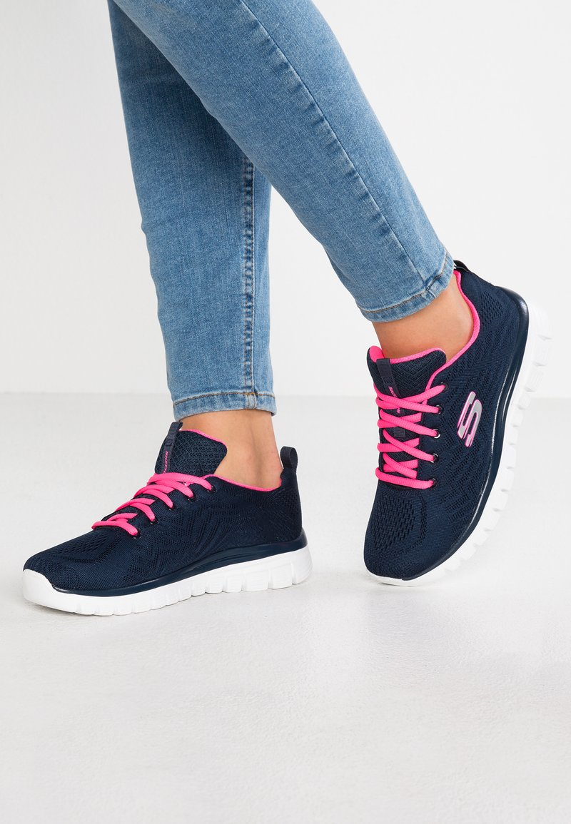Skechers Sport - GRACEFUL - Trainers - navy/hot pink