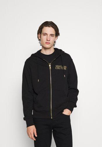 BRUSHED - Zip-up sweatshirt - nero/oro