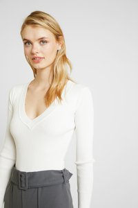 Missguided Tall - PLUNGE V NECK BODY 2 PACK  - Jumper - off white/sand - 3