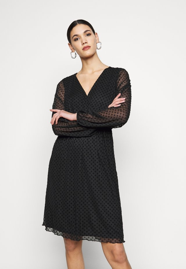 WRAP DOBBY DRESS - Robe de soirée - black