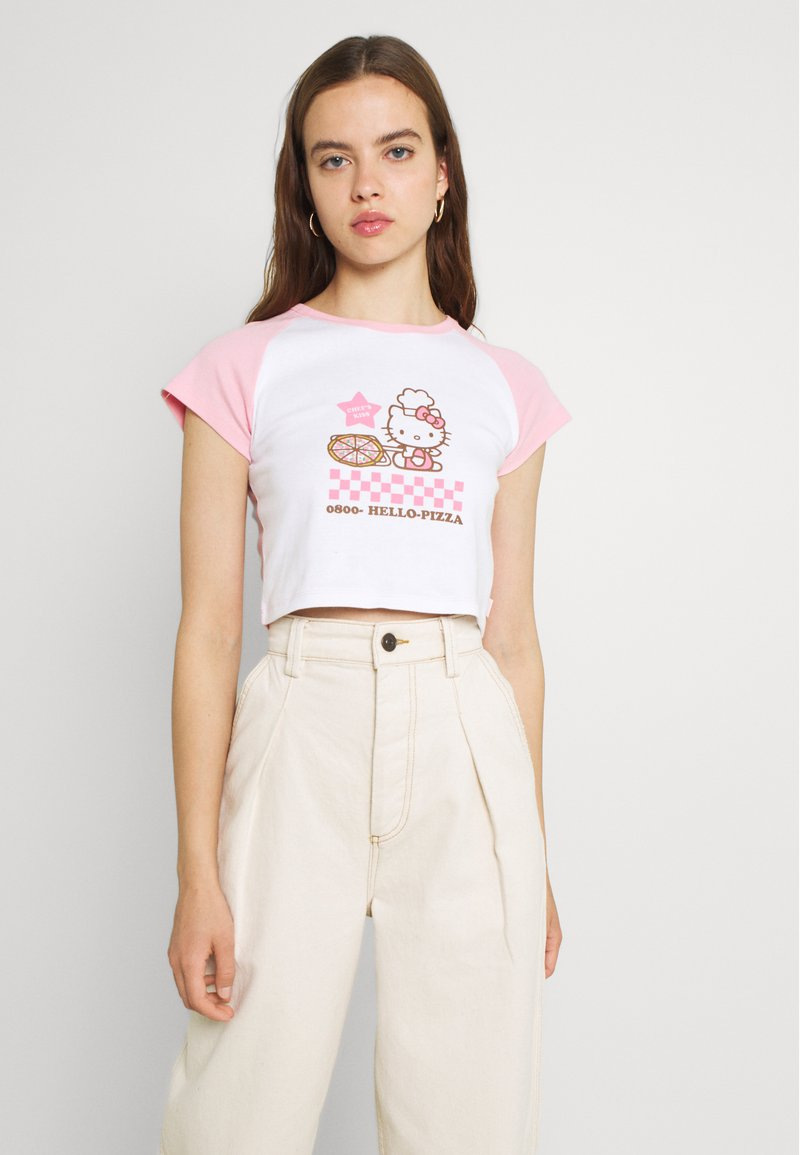 NEW girl ORDER - PIZZA RAGLAN BABY TEE - Triko spotiskem - pink/white