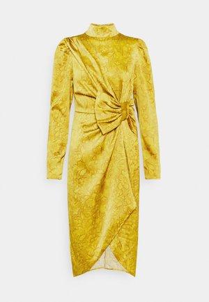 DRAPED BOW MIDI DRESS - Cocktail dress / Party dress - mustard