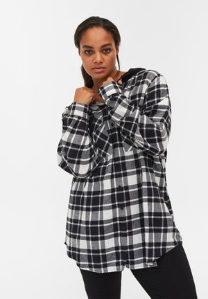Button-down blouse - black/white check