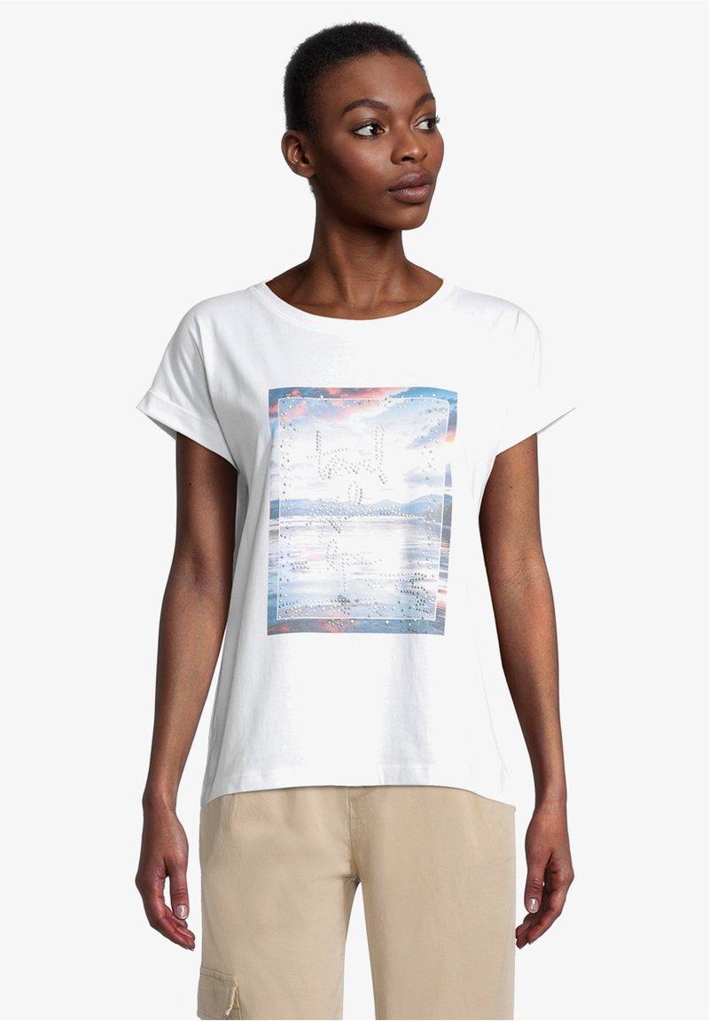 Cartoon - Print T-shirt - weiß/blau