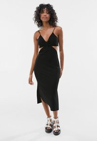Bershka - WITH CUT-OUT SIDES - Day dress - black - 0