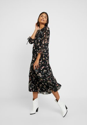 TIERED BUTTON FRONT MIDI DRESS - Day dress - pom pom floral true black