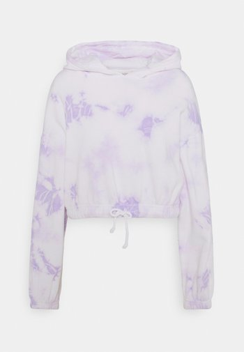 Cropped tie dye hoodie - Felpa con cappuccio - white