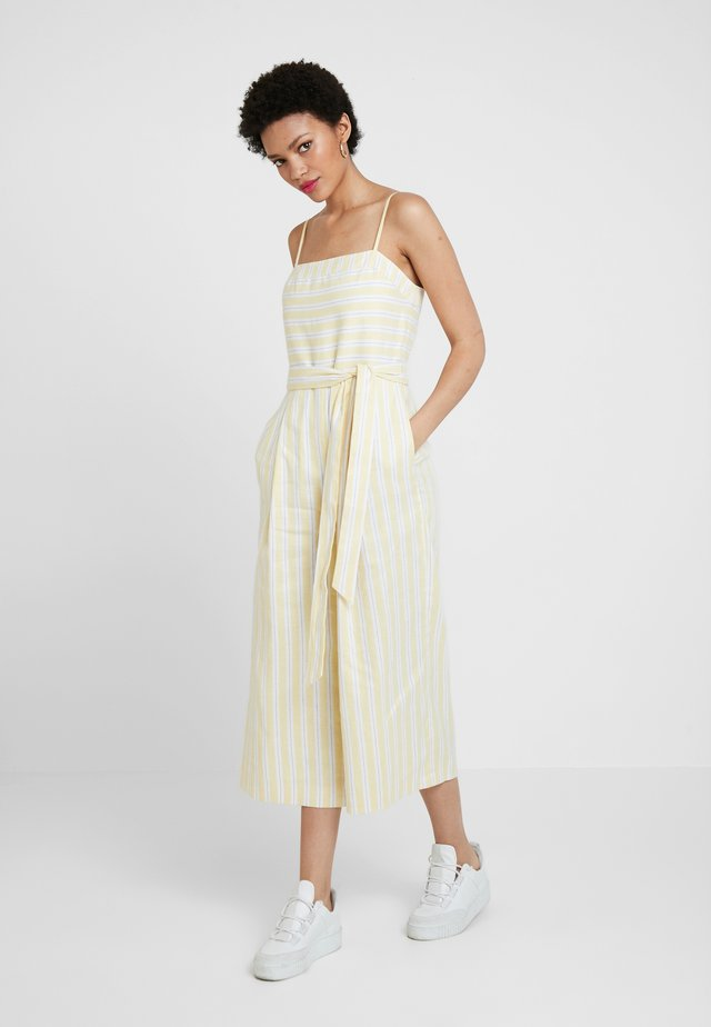 STRIPE SQUARE NECK JUMPSUIT - Haalari - yellow