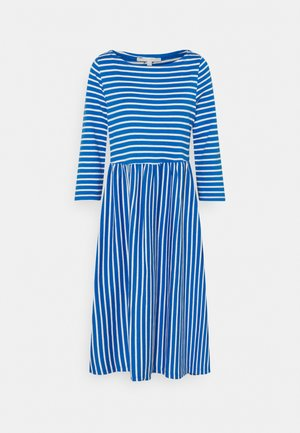 STRIPED DRESS - Jersey dress - mid blue