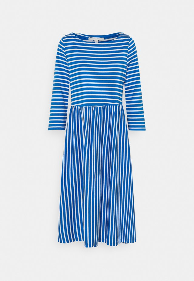 STRIPED DRESS - Jerseykjole - mid blue