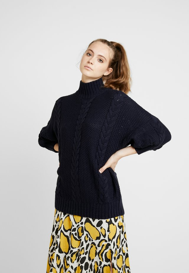 CABLE HIGH NECK JUMPER - Jumper - navy