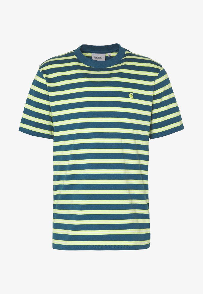 trolebús Desigualdad imagen  Carhartt WIP OAKLAND - Camiseta estampada - oakland stripe, moody blue /  lime/azul - Zalando.es