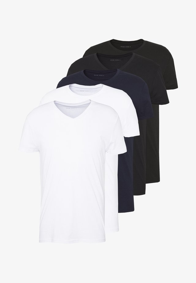 5 PACK - T-shirts - white/black