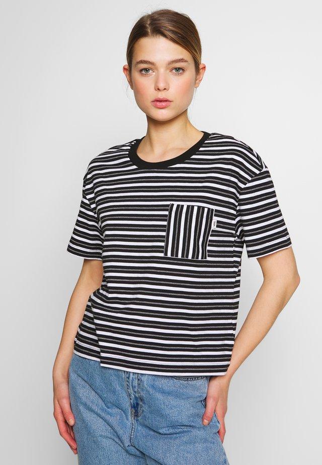 MINI CHECK TOP - Print T-shirt - black