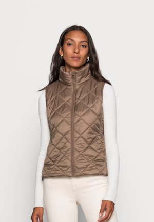 VEST STAND UP COLLAR FRONT ZIPPER - Waistcoat - nutshell brown