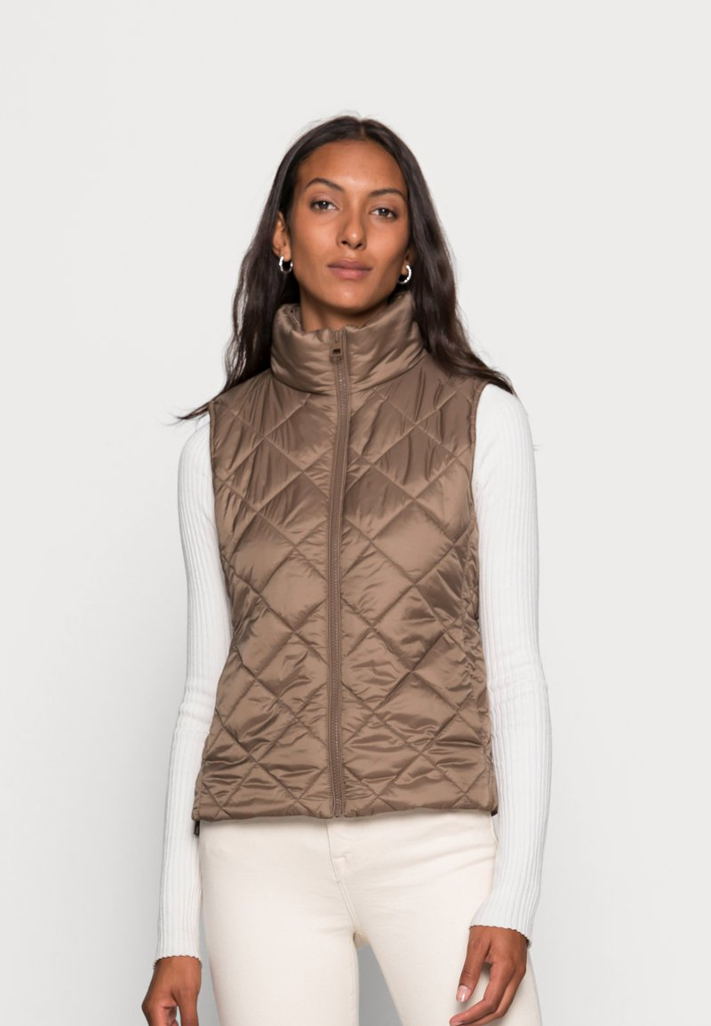 Marc O'Polo - VEST STAND UP COLLAR FRONT ZIPPER - Waistcoat - nutshell brown