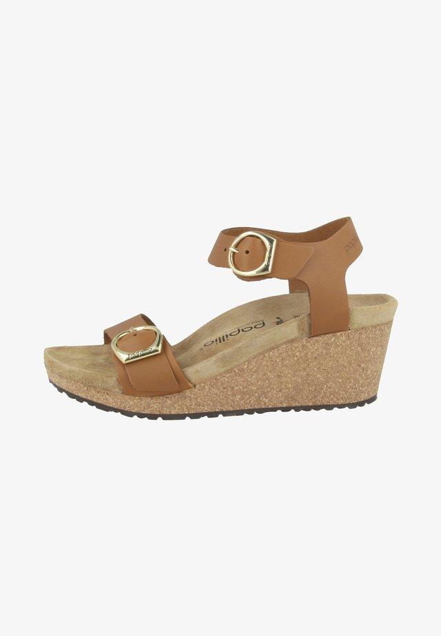 Sandalen met sleehak - ginger brown