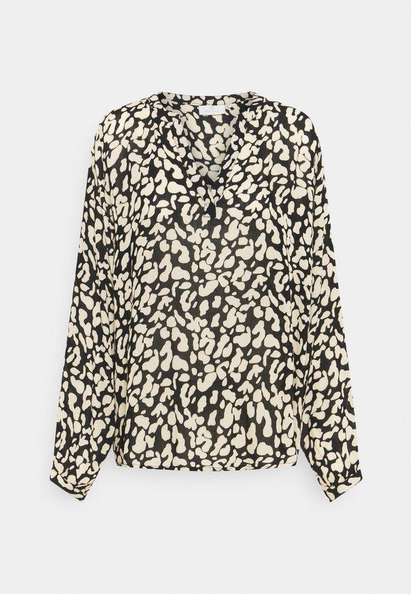 Kaffe TURBO BLOUSE - Bluzka z długim rękawem - black/beige/czarny YFSM