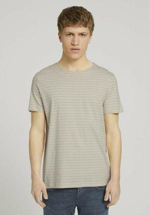 Print T-shirt - beige tonal stripe