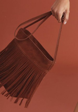 FRINGE DETAIL - Across body bag - tan