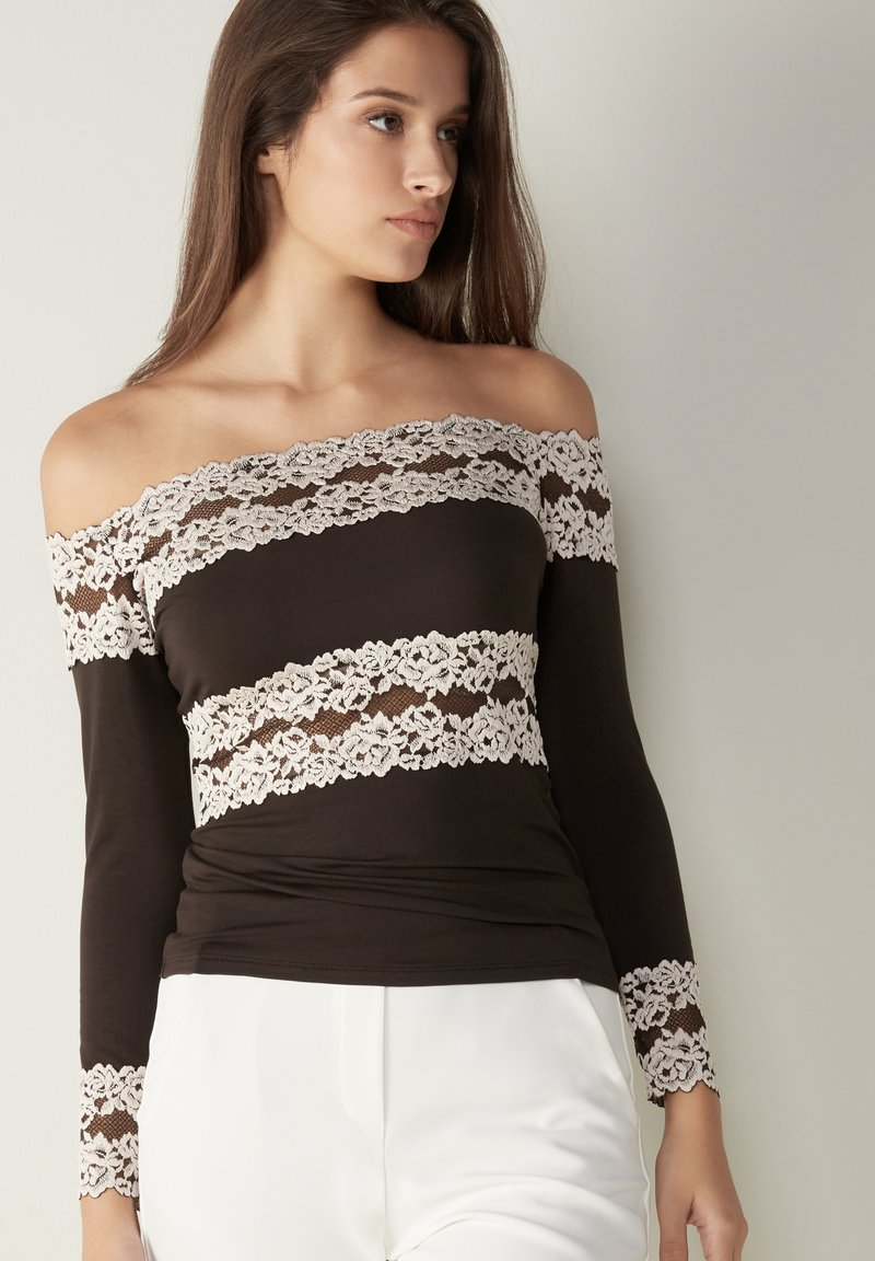 Intimissimi - PRETTY FLOWERS - Long sleeved top - braun - coffee brown