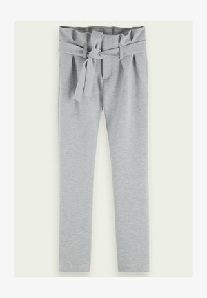 HIGH-RISE SLIM FIT BELTED PAPER BAG - Trousers - grey melange