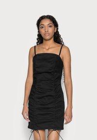 Topshop Petite - RUCHED BODYCON DRESS - Vestito elegante - black - 0