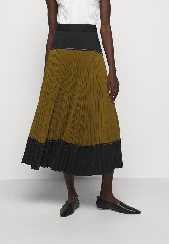 COLORBLOCKED PLEATED SKIRT - Veckad kjol - black/military