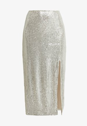 SEQUIN MIDI SKIRT - Pencil skirt - brushed silver
