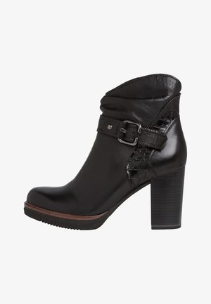 High heeled ankle boots - black antic