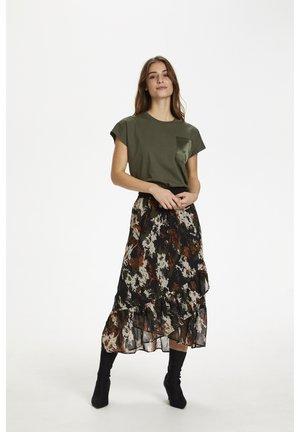 KADANE - Pleated skirt - grape leaf -flower camouflage