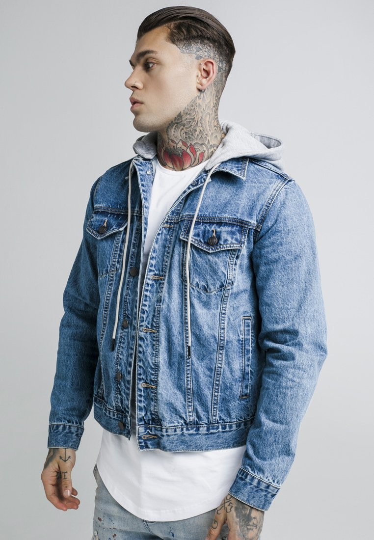 SIKSILK - DETACHABLE HOOD - Chaqueta vaquera - mid wash blue