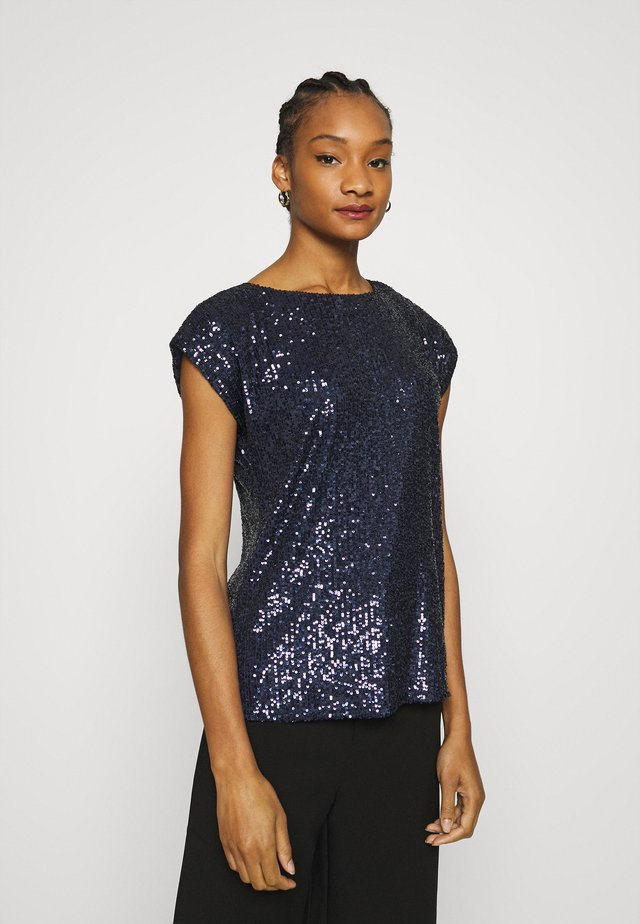 SEQUIN TEE - Print T-shirt - navy